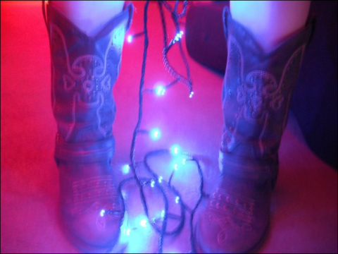 cowboy boots - fairy lights