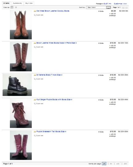 Shoe eBay auction