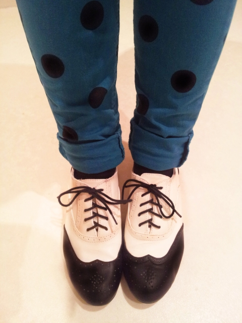 Black and white brogues